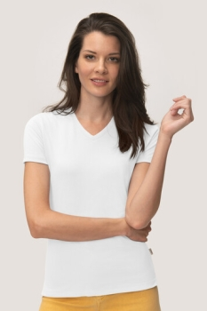 HAKRO, 169, Damen V-Shirt Cotton-Tec, weiss