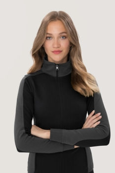 hakro, 277, Damen-Sweatjacke Contrast Performance, schwarz / anthrcite