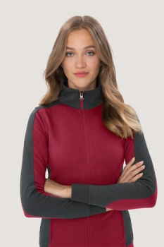 hakro, 277, Damen-Sweatjacke Contrast Performance, weinrot / anthrcite