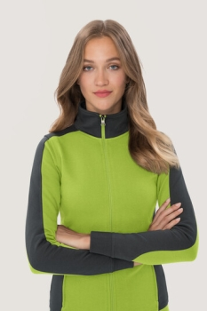 hakro, 277, Damen-Sweatjacke Contrast Performance, kiwi / anthrcite