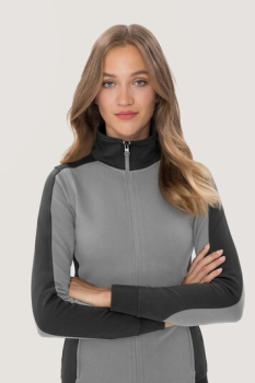 hakro, 277, Damen-Sweatjacke Contrast Performance, titan / anthrcite