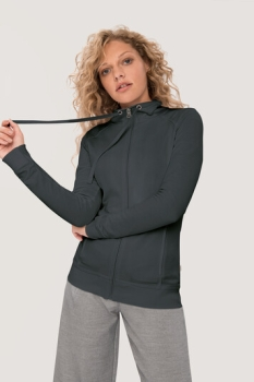 HAKRO 406, Damen Sweatjacke College, anthrazit,
