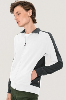 hakro, 477, Sweatshirt Performance, weiss / anthracite,