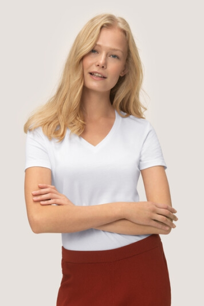 hakro, 172, Damen V-Shirt Stretch, weiss,
