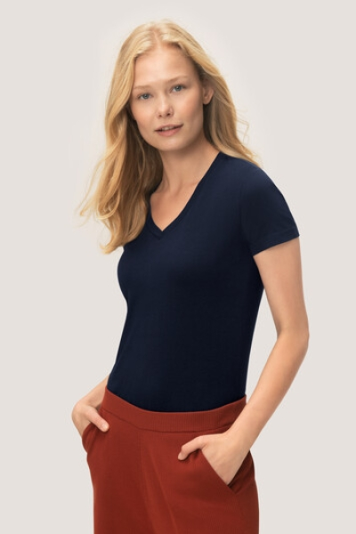 hakro, 172, Damen V-Shirt Stretch, tinte,