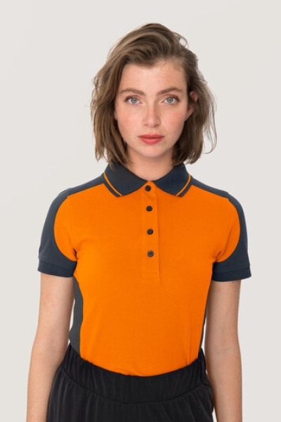 hakro, 239, Damen-Contrast-Poloshirt Performance, orange,