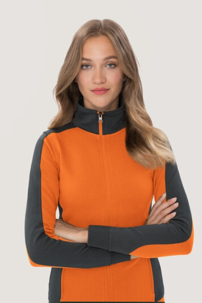 hakro, 277, Damen-Sweatjacke Contrast Performance, orange / anthrcite