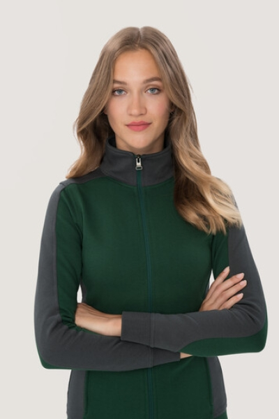 hakro, 277, Damen-Sweatjacke Contrast Performance, tanne / anthrcite