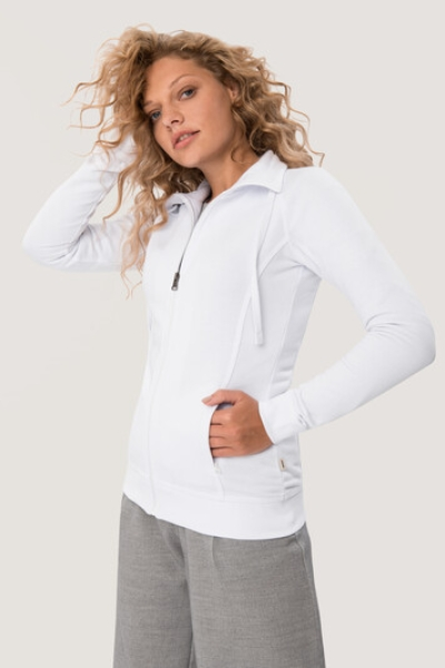 HAKRO 406, Damen Sweatjacke College, weiss,